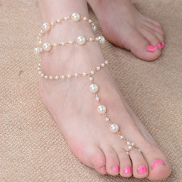Wholesale Pearl Toe Ring - Hot Cheapest stretch anklet chain with toe ring free shipping, white glass pearl anklets style FA361