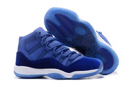 Wholesale Sapphire Cutting - New Released Retro 11 Men Women Basketball Shoes 11s Blue Sapphire Velvet Heiress Authentic Top Quality Sports Shoes With Shoes Box