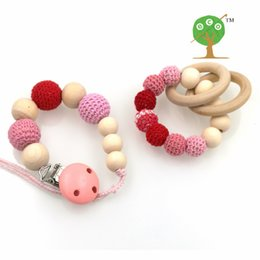 Wholesale Crochet Nursing Toys Wholesale - Wholesale-Retail nursing toy set pastel Pink Natural Baby pacifier clip Dummy holder Crochet wooden beaded new mommy baby girl gift NT130