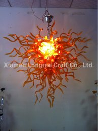Wholesale Cottage Ceiling Lights - Brown Blown Glass Ceiling Chandelier Light Home Villa Decoration 100% Mouth Blown Borosilicate Glass LED Chandelier