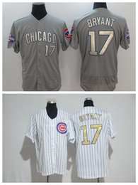 Wholesale Cheap Baseball Uniform - Cubs Baseball Jerseys 2017 Gold Baseball Jersey #44 Rizzo Men Uniform #17 Bryant White Cheap Wears #12 Schwarber Grey Shirts Hot Sale