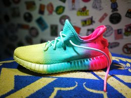 Wholesale Tennis Candy - 2017 Original quality 350 V2 Real Boost Rainbow Men And Women All Can Wear Candy Running Sneakers With box Size US5-11