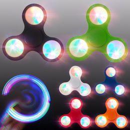 Wholesale Wholesale Fingertip Lights - Triangle LED Hand Spinner plastic LED Fidget Spinner Finger Fingertip Gyro Tri-Spinner Handspinner Fidget Toys EDC Decompression