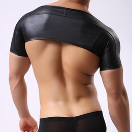 Wholesale Leather Vests For Men - Wholesale- C49 Brand New Men Sexy Leather Tank Tops Undershirts for Fun Party half Vest Tank JJSOX