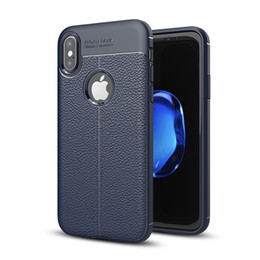 Wholesale Universal Fittings - Soft TPU Silicone Case Anti Slip Leather Texture Phone Cases Cover For iPhone X 8 7 6 6S Plus 5 5S Samsung Note 8 S7 Edge S8 S9 Plus