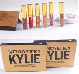Wholesale Mini Cosmetic Boxes - Kylie Jenner Cosmetics Matte Liquid Lipstick Mini Kit Lip Birthday Edition Limited With the Golden Box Lip Gloss