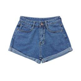 Wholesale Spandex Shorts For Women - Wholesale- 2 Colors Panties for women Solid Shorts Women Girls Slim High Waist Curling Denim Jeans Shorts Pants S-4 XL Fashion