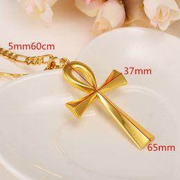 Египетские золотые прелести онлайн-Желтый твердый Золотой религиозный Анкх крест очарование кулон ожерелье египетский мир вера новый
