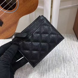 Wholesale Vintage Box Purses - Free shipping brand new Genuine lambskin caviar Leather short wallets Women classic Luxury card holders purse 50084 with box