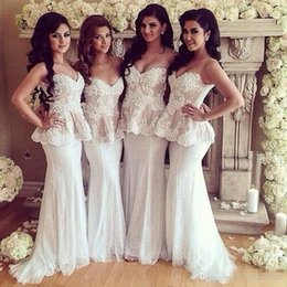 Wholesale Strapless Pleated Lace Top - 2016 White Beach Mermaid Bridesmaid Dresses Top Lace Sweetheart Strapless Formal Maid Of Honor Wedding Party Guest Formal Occasion Gowns