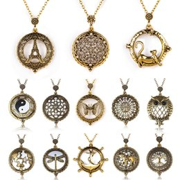 Wholesale Vintage Map Watch - Vintage Magnifying Glass Pendant Necklace World Map Dragonfly Owl Life Tree Elephant Pocket Watch Statement Necklace Women Jewelry