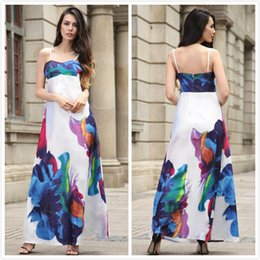Wholesale Women S Cotton Slips - New Loose Women Dresses Dress Sexy Slip Strapless Floral Printed Backless Ink Painting Luxury 100% Real Shooting Long Dresses Slim Fit