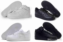 Wholesale Women Black High Top Sneakers - Top Quality Classical Air 1 One Running Shoes For Women & Men, Full Leather All White Black Athletic Sport Sneakers