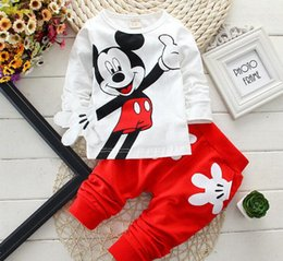 Wholesale Summer Set Minnie 2pcs - Fashion baby Cartoon clothing Suits Girls boys Minnie Mouse clothes baby 100% cotton shirts+pants 2pcs Children Clothing Set
