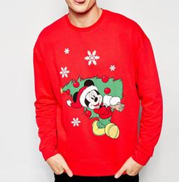 Wholesale Christmas Couple Hoodies - Wholesale-H219 Christmas Mouse Printed Suit Tracksuits Men Cartoon Sweatshirt Couple Hoodies
