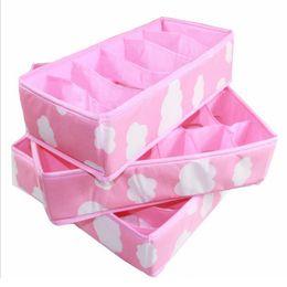 Wholesale Underwear 24 - ASLT 3 In 1 Pink Grid Pattern Folding Storage Box Bag Bra Underwear Necktie Sock Fashion Convenient Folding Storage