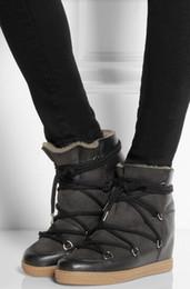 Botas de inverno de couro de pele preta on-line-Inverno Quente Botas de Neve De Pele de Couro Marrom Preto Mulheres Ankle Boots Cunha Lace Up Altura Crescente Sapatos Casuais Ao Ar Livre mulher