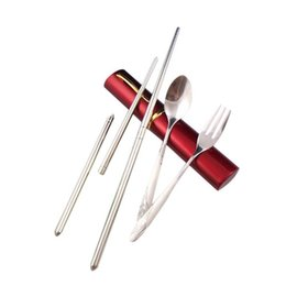 Wholesale Free Fork - Wholesale Portable Lunch Tableware Cutlery Set Stainless Steel Teaspoon Fork Ideal for camping picnics free shipping