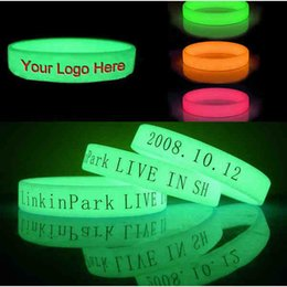 Canada 200pcs / lot lueur dans le silicone bracelets bracelets / bracelet avec logo personnalisé / test imprimé ,, bracelets lumineux DHL LIVRAISON GRATUITE Offre