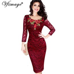 Wholesale See Through Womens Clothing - omen's Clothing Dresses Vfemage Womens Autumn Elegant Embroidery See Through Lace Party Evening Special Occasion Sheath Vestidos Bodycon ...