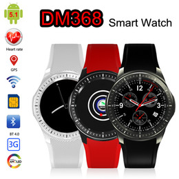 Wholesale Gsm Watches Wifi - DM368 GPS Smart Watch GSM Phone Android 5.1 8GB Heart Rate Monitor Sport Pedometer 3G WCDMA Wifi Bluetooth OLED Smartwatch Wearable Devices