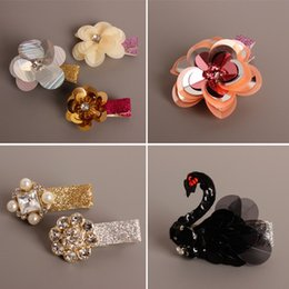 Wholesale Sequin Diamond Hair - Pretty Sequin floral Baby Hair Bows diamond Flower Hair Clips Ribbons barrettes Infant Hairclips Girl Hair Clips Childrens Accessories A680