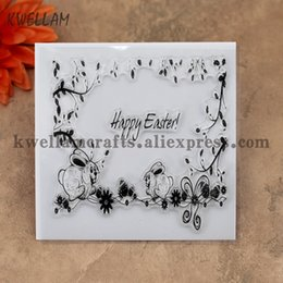 Wholesale Stamp Rabbit - Wholesale- Happy Easter Egg Rabbit Branches Scrapbook DIY photo cards account rubber stamp clear stamp transparent stamp 10x10cm KW7011410