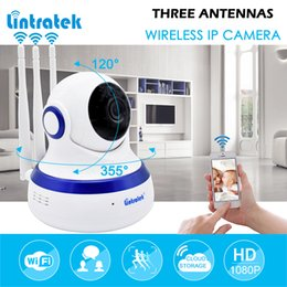 Wholesale pan tilt cameras - lintratek hd 1080P IP Camera WIFI 2.0MP CCTV Video Surveillance P2P Home Security Three Antennas Cloud Storage WiFi Baby Monitor IPCAM