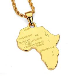 Золото колье колье африканского стиля онлайн-Новая Африканская Карта Хип-Хоп Стиль Позолоченные и Посеребренные Подвеска Колье Ожерелья Ювелирные Изделия для Мужчин и Женщин