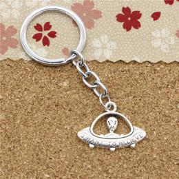 Wholesale Alien Rings - 15pcs Fashion Diameter 30mm Metal Key Ring Key Chain Jewelry Antique Silver Plated alien ET believe spaceship 23*30mm Pendant