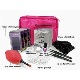 Wholesale Eyelash Glue Applicator - NAGARAKU eyelashes extension kits, include tweezers, remover,glue, eye pad, false eyelashes, brush, micro-applicator , medical tape , 1O pcs
