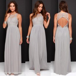Wholesale Lace Backless Wedding Dress Hollow - 2017 Country Cheap Grey Bridesmaid Dresses for Wedding Long Chiffon A-Line Backless Formal Dresses Party Lace Modest Maid Of Honor Dress