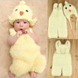 Wholesale Newborn Suspenders Wholesale - 2017 New Newborn Baby Photography Prop Infant Kids Lovely Chicken Hat+Suspenders 2pcs Set Photography Soft Warm Sweater