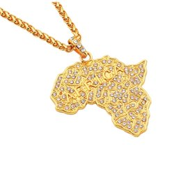 big gold pendant designs Coupons - Fashion Men Hip Hop Necklaces Map of Africa Big Pendant Jewelry Full Rhinestone Design Punk Rock Rap 18k Gold Plated 70cm Long Chain