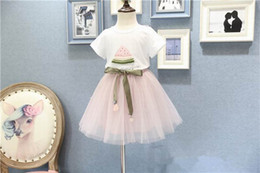 Wholesale Long Skirts Girl Fashion - 2017 New Girl Summer Sets White Watermelon T-shirts+Fuffly Tulle Skirt 2pcs Fashion Sets Children Clothing 2-6Y