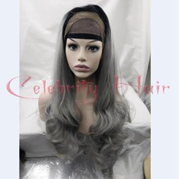 """Wholesale Long Lace Front Heat Wig - Real Hair 26""""150% Long Body Wavy Ombre Gray Synthetic Lace Front Glueless Two Tone 1b# Grey Heat Resistant Hair Wig Freeshipping"""