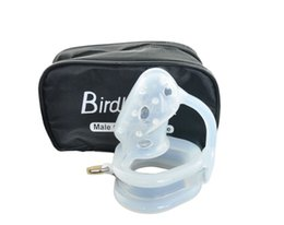 Wholesale Silicone Chastity Bird - Transparent silicone male chastity device cock cage bird lock CB6000S penis ring chastity belt adult sex products for men penis