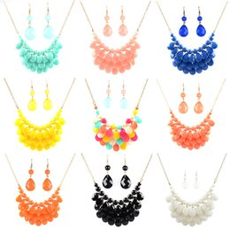 Wholesale Bubble Floats - Fashion Floating Bubble Necklace Earrings Set Teardrop Bib Collar Statement Jewelry for Women For Gifts HJ110
