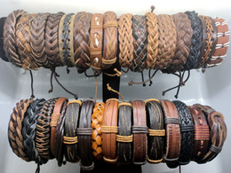 Wholesale Surfer Leather Bracelet Wristband - Wholesale 100pcs Lots Mens Womens Fashion Leather Surfer Bracelet Cuff Wristband Jewelry Gift Bracelet