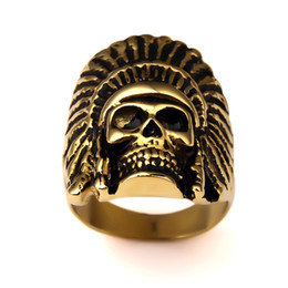 Wholesale Race Rings - High Quality Stainless Steel Skeleton Rings Vintage Racing Tattoo Hip Hop Punk Skull Bikers Rings Indian Style Jewelry For Party