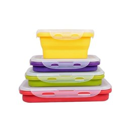 Wholesale Wholesale Camp Food - 4Pcs Set Foldable Silicone Lunch Boxes Food Storage Containers Household Food Fruits Holder Camping Road Trip Portable Houseware