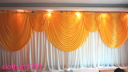 Wholesale Wedding Supplies Plum Gold - 3m*6m wedding backdrop with swags Party background cloth Curtain Celebration Stage backcloth Performance Background