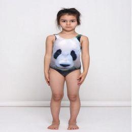 Wholesale Animal Print Girls Kids Swimsuit - Baby Girl Swimsuit 2017 3D Animal Printed Kids Swimwear Summer Swimming One Piece Panda Tiger Rabbit Children Beachwear 80-110cm