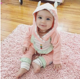 Wholesale Cotton Christmas Jumpers - 2017 Ins Baby Christmas Clothes Sets Infant Toddlers Long Sleeve Pink Jumper Sweater With Matching Long Pants Two Piece Sets Kids Cotton Clo