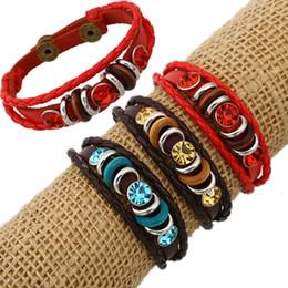 2019 perles de la main pour les hommes Rétro corde réglable en cuir hommes couple bracelets de perles corde bracelet tissé à la main pour les femmes tressé bijoux 161988 promotion perles de la main pour les hommes