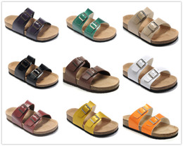 Wholesale Ankle Wrap Flat Sandals - 2018 Famous Brand Arizona Women's Flat Heel Sandals Buckle Summer Classic Outdoor Casual Ventilation Comfortable Genuine Leather Slippers