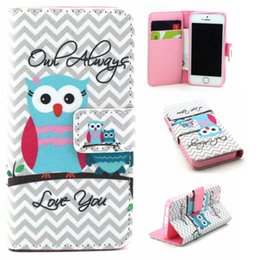 Wholesale Leather Shell Pouches - Owl Always Love You Design Pu Leather Flip Stand Wallet Card Holder Pouch Cover Case For Apple iPhone 5G 5S SE Protective Shell