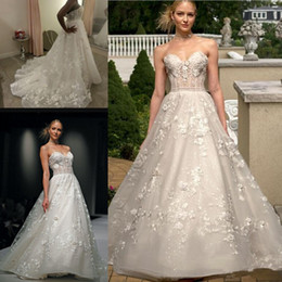 Wholesale Flower Details - 2017 Sexy A Line Lace Wedding Dresses for Size 12 Sweetheart See Though Flowers Appliqued Backless Bridal Gowns