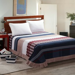 Wholesale Luxury Bedding Sets King Size Red - Wholesale- luxury brushed 40s epgytian cotton plaid stripes 3pcs bed sheet set flat sheet pillow cases king queen double twin size bed