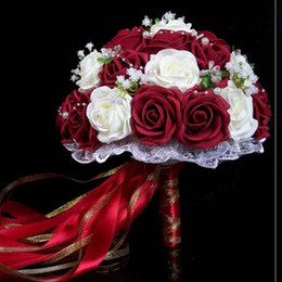 Wholesale New Dried Flowers - 2018 Women Roses Ribbon Decorations Bridal Flowers Accessories Gown Fast Shipping Burgundy Shipping Burgundy Artificial Wedding Bouquets For